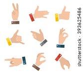 collection open empty hands... | Shutterstock .eps vector #393625486