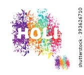 holi celebration. color stain... | Shutterstock .eps vector #393626710