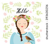 girl with a flower crown and a... | Shutterstock .eps vector #393630256