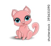 a beautiful pink cat with blue...   Shutterstock .eps vector #393631090