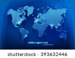 vector night world map... | Shutterstock .eps vector #393632446