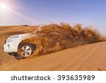 offroad vehicle bashing through ... | Shutterstock . vector #393635989