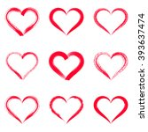 red vector brush strokes hearts ... | Shutterstock .eps vector #393637474