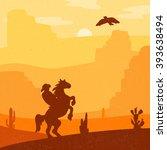 retro wild west hero on... | Shutterstock .eps vector #393638494