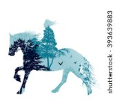 a horse rider silhouette with... | Shutterstock .eps vector #393639883