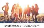 diverse beach summer friends... | Shutterstock . vector #393648574