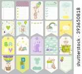 baby boy tags. banners.... | Shutterstock .eps vector #393650818