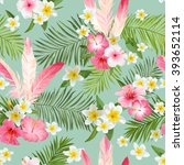 tropical flowers background.... | Shutterstock .eps vector #393652114