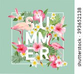 tropical flowers background.... | Shutterstock .eps vector #393652138