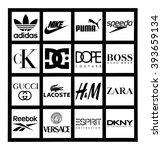 Small photo of Kiev, Ukraine - March 17, 2016: Set of most popular logos of brands clothing printed on white paper: Adidas, Puma, Reebok, Speedo, Boss, Versace, Gucci, Lacoste, Zara, Hennes & Mauritz, Calvin Klein.