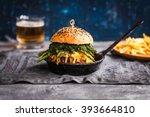 gourmet burger with fermented... | Shutterstock . vector #393664810