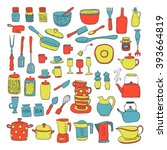 hand draw colorful kitchen... | Shutterstock .eps vector #393664819