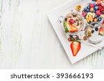 healthy breakfast preparation ...   Shutterstock . vector #393666193