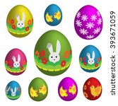 set of colorful easter eggs.... | Shutterstock .eps vector #393671059