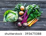 Small photo of Fresh organic produce. Cabbage, Beets, Carrots, Onions, Kale and Parsley