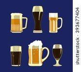 set of beer glasses and mugs... | Shutterstock .eps vector #393677404