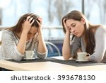 two sad women worried in a... | Shutterstock . vector #393678130