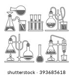set chemical flask. erlenmeyer... | Shutterstock .eps vector #393685618