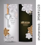 invitation card with key and... | Shutterstock .eps vector #393691123
