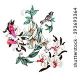 watercolor pattern with... | Shutterstock . vector #393693364
