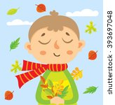 illustration with little boy in ... | Shutterstock .eps vector #393697048