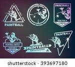 set of paintball logos  emblems ...   Shutterstock .eps vector #393697180