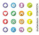 colorful flat game icon set on...