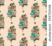seamless pattern with colorful... | Shutterstock .eps vector #393702448