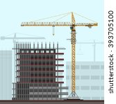 tower crane on construction... | Shutterstock .eps vector #393705100