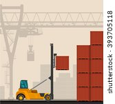empty container lift truck with ... | Shutterstock .eps vector #393705118