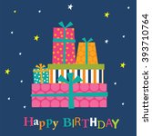 birthday card with present... | Shutterstock .eps vector #393710764