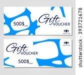 gift voucher. vector ... | Shutterstock .eps vector #393721678