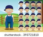 farm little boy cartoon emotion ... | Shutterstock .eps vector #393721810