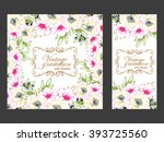 invitation with floral... | Shutterstock . vector #393725560