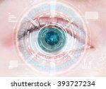 close up of woman's blue eye.... | Shutterstock . vector #393727234