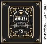 vintage frame label for whiskey ... | Shutterstock .eps vector #393742000
