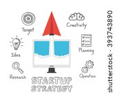startup strategy  paper plane... | Shutterstock .eps vector #393743890