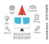 startup strategy  paper plane... | Shutterstock .eps vector #393743890