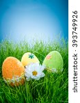 decorated easter eggs in the... | Shutterstock . vector #393749926