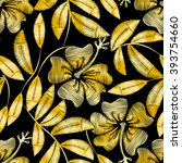 tropical gold embroidery... | Shutterstock .eps vector #393754660