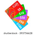 multicolour gift cards on a... | Shutterstock . vector #393756628