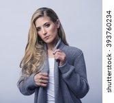 fashion shot of a beautiful... | Shutterstock . vector #393760234