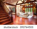 beautiful large living room... | Shutterstock . vector #393764503