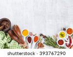 herbs  condiments and spices on ... | Shutterstock . vector #393767290