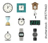 different types of clocks and... | Shutterstock . vector #393774463