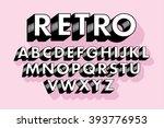 retro typography font vector... | Shutterstock .eps vector #393776953