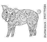 vector  pig. zentangle pig... | Shutterstock .eps vector #393779584