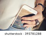 smart phone in jeans pocket | Shutterstock . vector #393781288