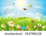 summer or spring lush meadow... | Shutterstock .eps vector #393788128