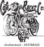vintage motorcycle hand drawn... | Shutterstock .eps vector #393788320